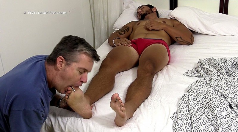 Tattooed Stud RJ Foot Worshiped In His Sleep - mff0574_rjworship